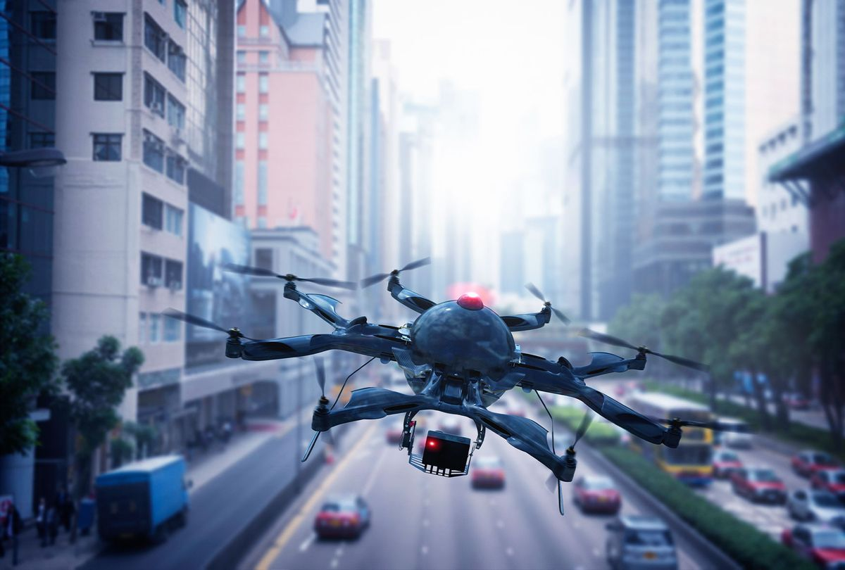 Drone flying over a cityscape (Getty Images)