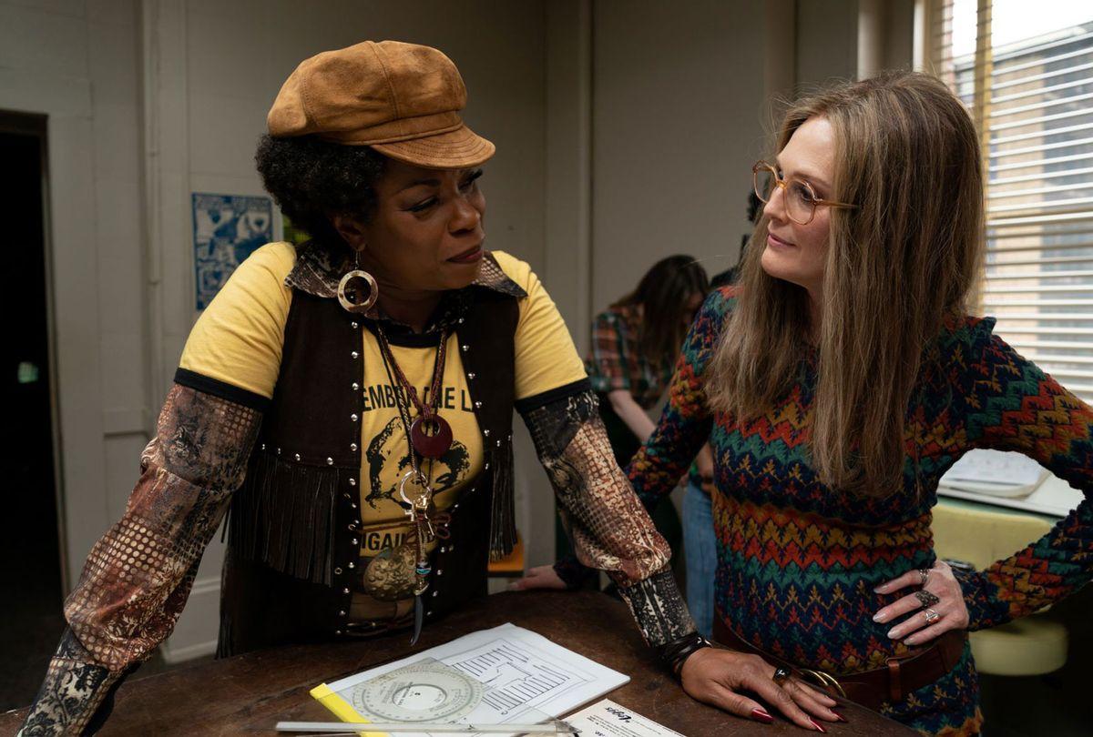 "Lorraine Toussaint (as Flo Kennedy) and Julianne Moore (as Gloria Steinem) in ""The Glorias."" (Dan McFadden/LD Entertainment/Roadside Attractions)"