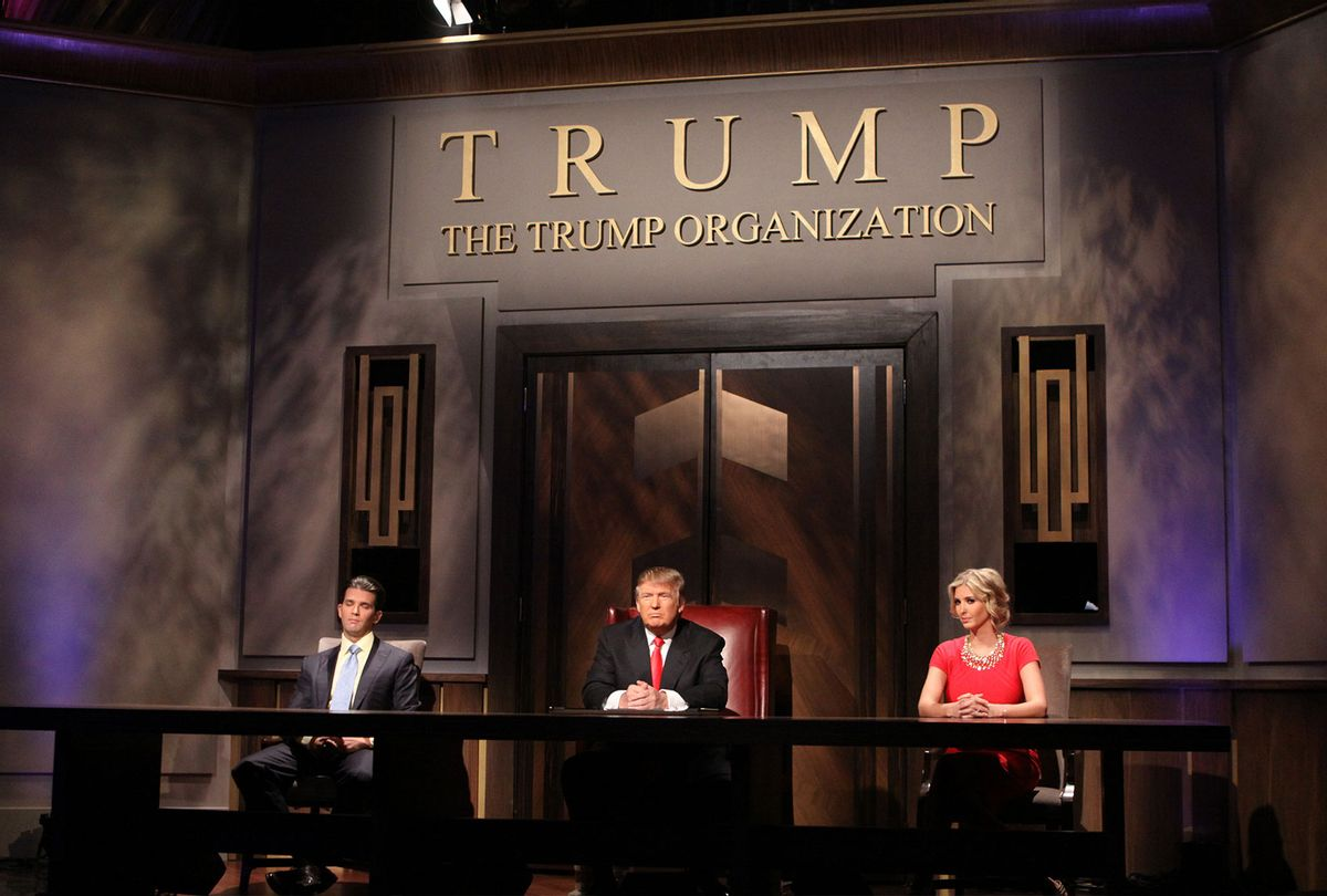 Donald Trump Jr, Donald Trump and Ivanka Trump during the filming of the live final tv episode of The Celebrity Apprentice on May 16 2010 in New York City. (Bill Tompkins/Getty Images)