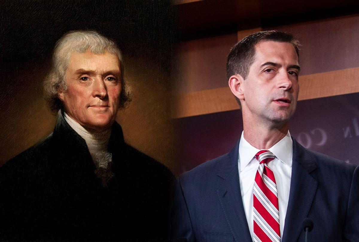 Thomas Jefferson and Sen. Tom Cotton (Photo illustration by Salon/Getty Images)