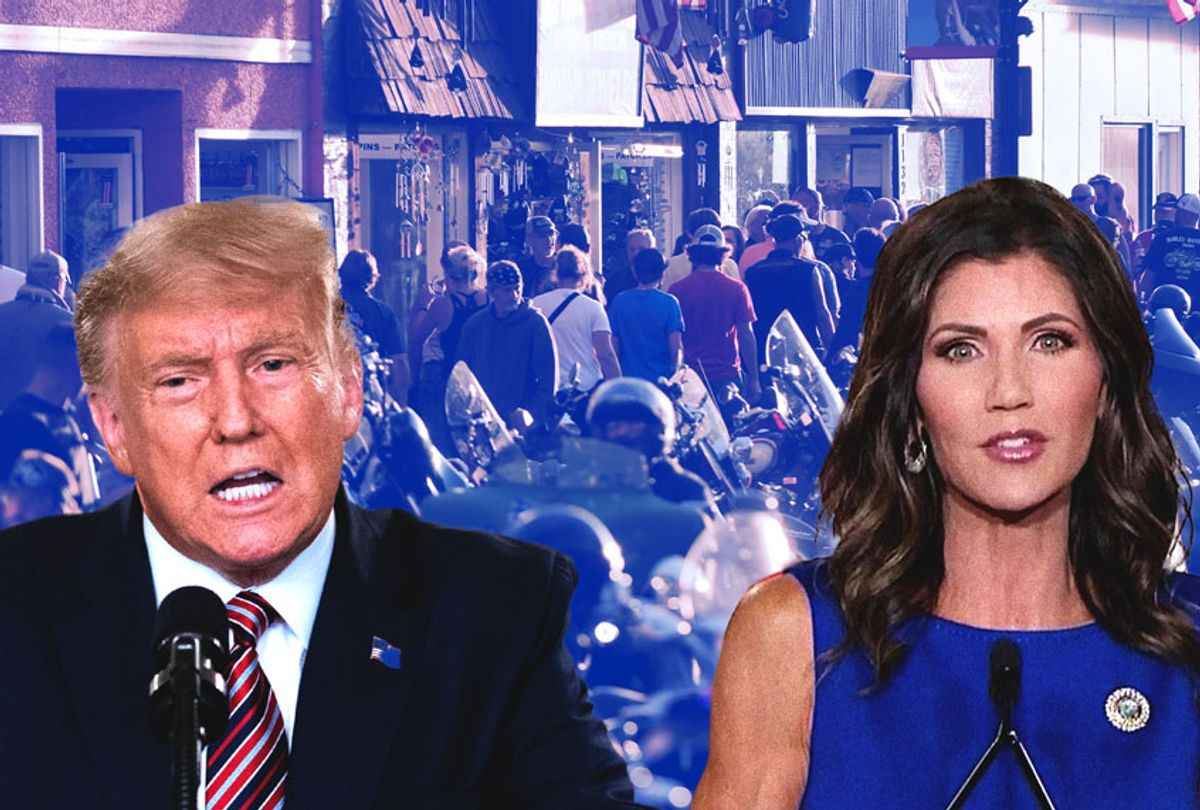 Donald Trump and Kristi Noem   People walk along Main Street during the 80th Annual Sturgis Motorcycle Rally in Sturgis, South Dakota on August 8, 2020. (Photo illustration by Salon/Getty Images)