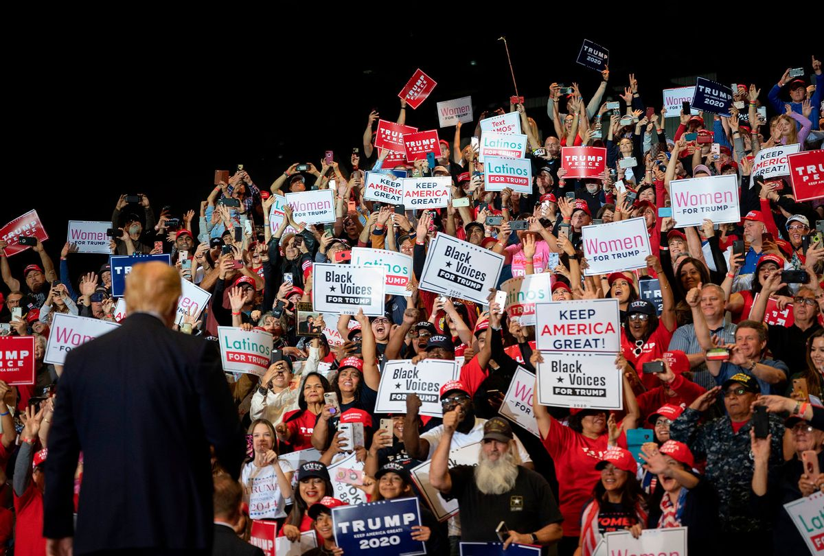 Supporters cheer as US President Donald Trump arrives to deliver remarks at a Keep America Great rally in Las Vegas, Nevada, on February 21, 2020. (JIM WATSON/AFP via Getty Images)