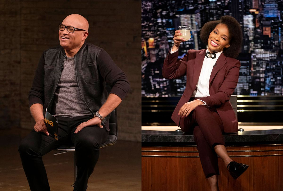 """Larry Wilmore of """"Wilmore"""" and Amber Ruffin of """"The Amber Ruffin Show"""" (Photo illustration by Salon/Trae Patton/Virginia Sherwood/Peacock/)"""