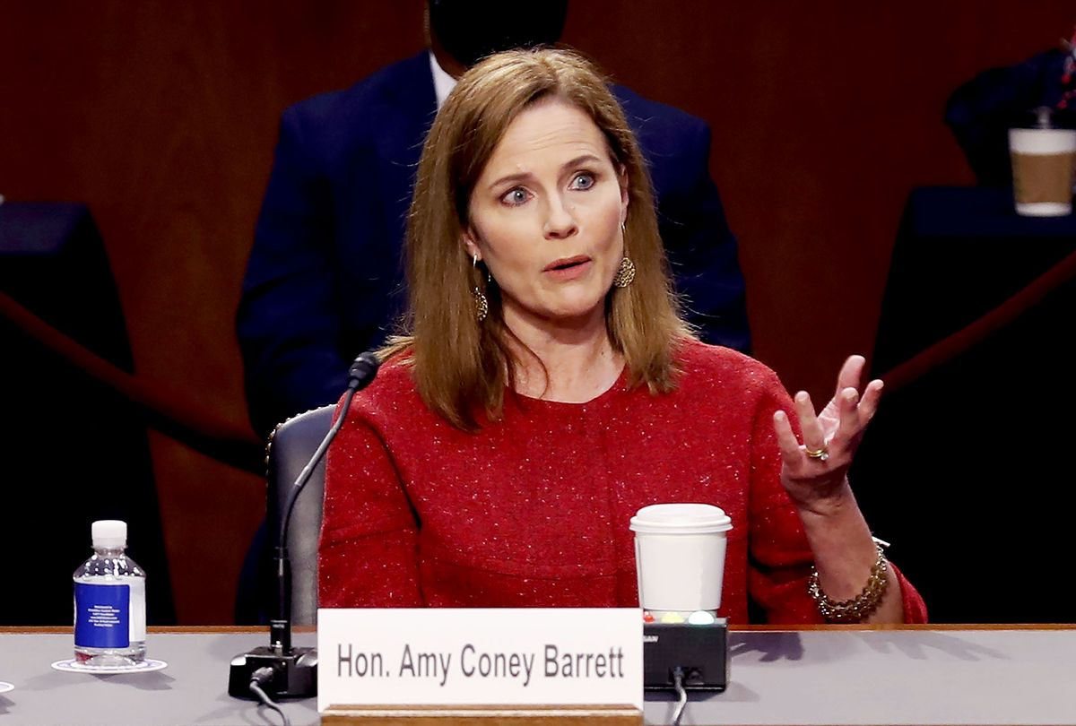 Supreme Court Justice nominee Judge Amy Coney Barrett responds to questions on the second day of her Supreme Court confirmation hearings before the Senate Judiciary Committee on Capitol Hill on October 13, 2020 in Washington, DC. (Shawn Thew-Pool/Getty Images)