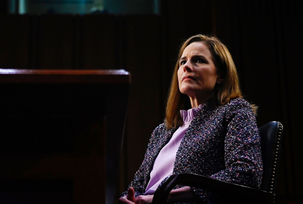 Supreme Court nominee Judge Amy Coney Barrett testifies before the Senate Judiciary Committee on the third day of her confirmation hearing on Capitol Hill on October 14, 2020 in Washington, DC. (Andrew Caballero-Reynolds-Pool/Getty Images)