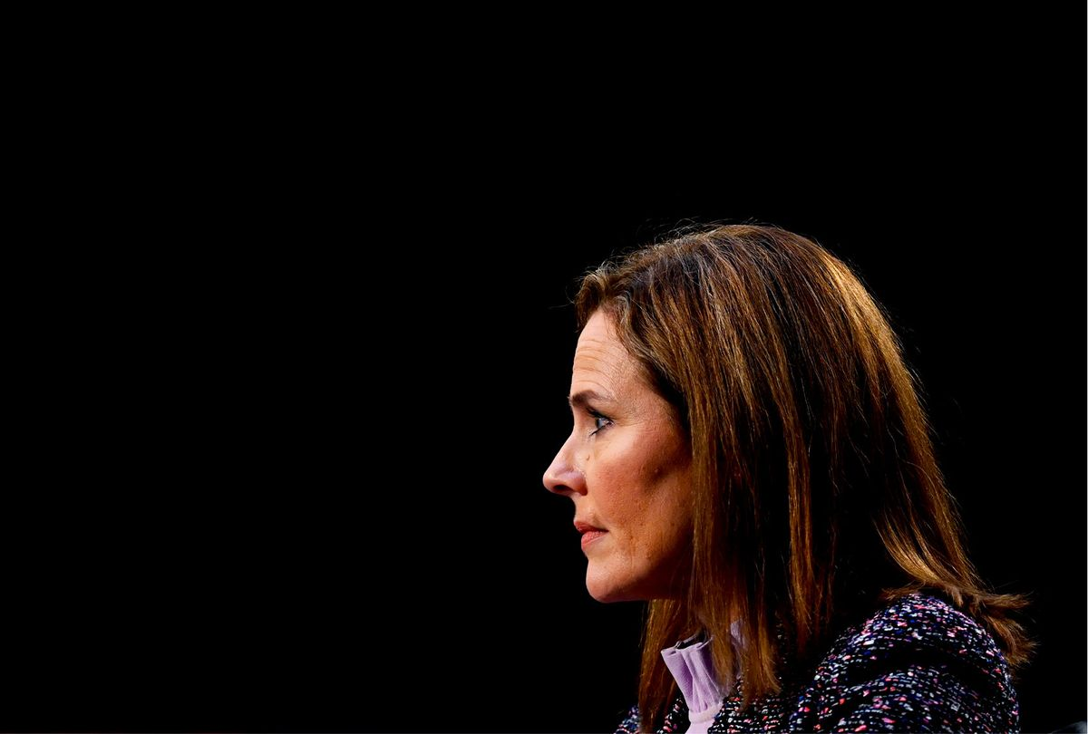 Supreme Court nominee Judge Amy Coney Barrett testifies on the third day of her confirmation hearing before the Senate Judiciary Committee on Capitol Hill on October 14, 2020 in Washington, DC (Getty Images/Pool)