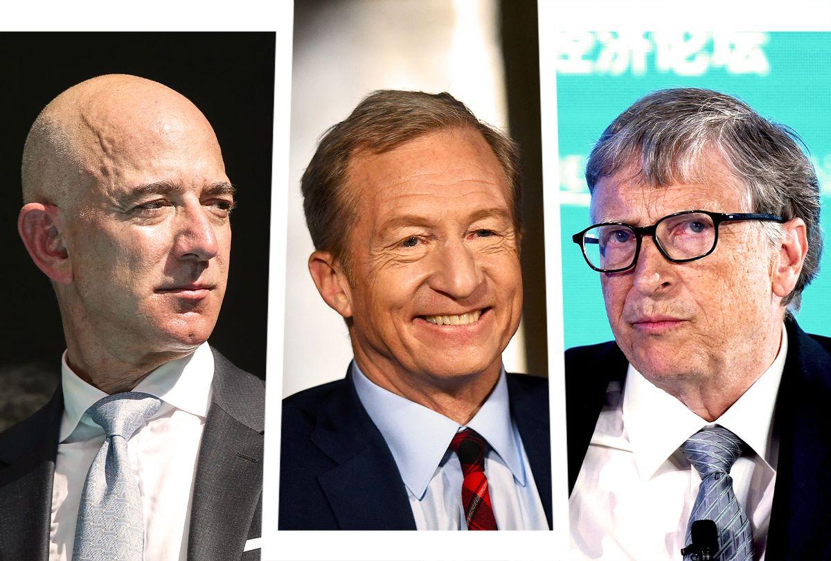 Jeff Bezos, Tom Steyer and Bill Gates (Photo illustration by Salon/Getty Images)