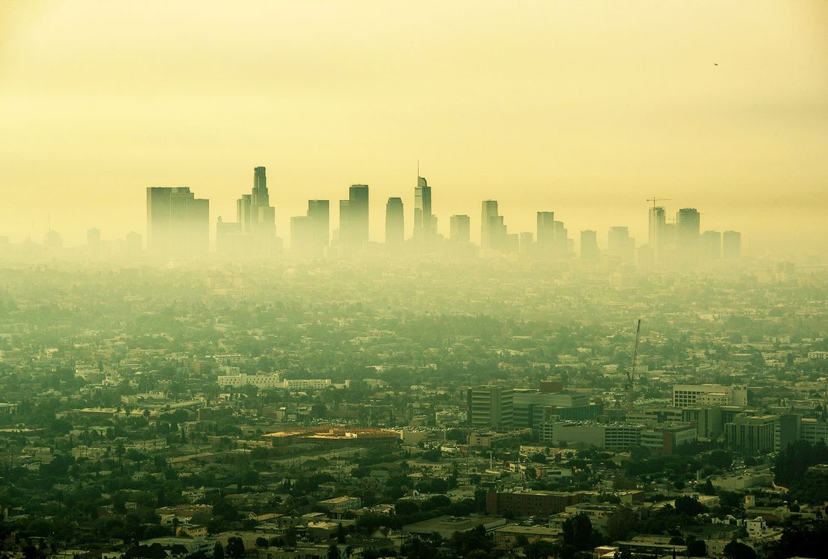 Smoke from Southern California wildfires drifts through the L.A. Basin, obscuring downtown skyscrapers in a view from a closed Griffith Observatory on Thursday, Sept. 17, 2020 in Los Angeles, CA. (Brian van der Brug / Los Angeles Times via Getty Images)