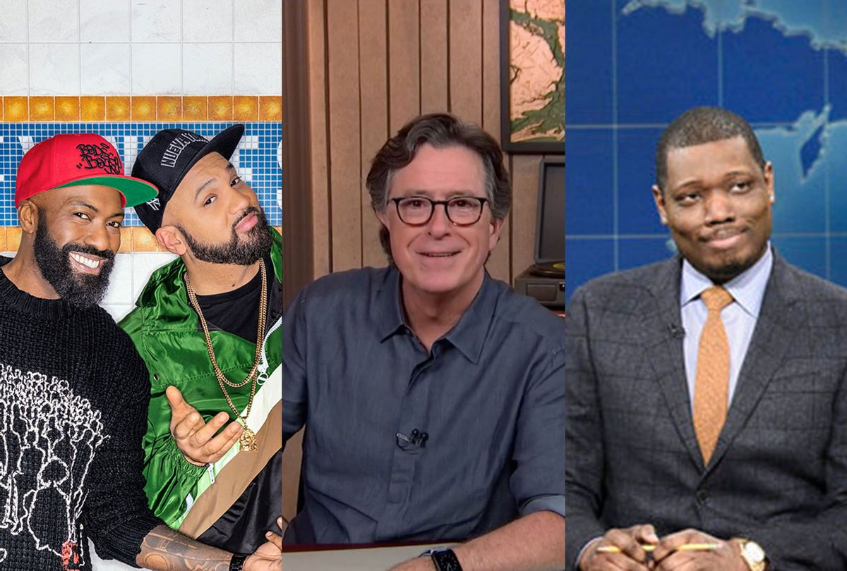 Desus & Mero | Stephen Colbert of The Late Show | Michael Che of Weekend Report (Photo illustration by Salon/Showtime/NBC/Comedy Central)