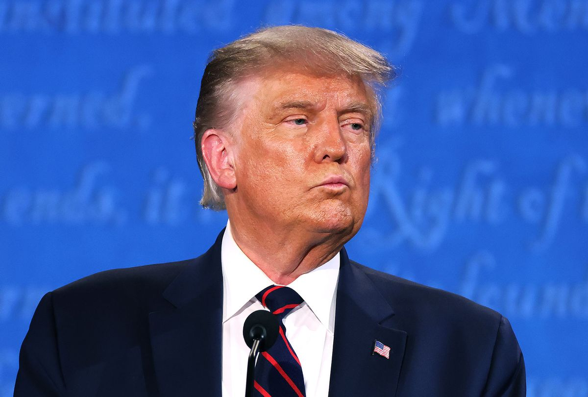 U.S. President Donald Trump participates in the first presidential debate against Democratic presidential nominee Joe Biden at the Health Education Campus of Case Western Reserve University on September 29, 2020 in Cleveland, Ohio. This is the first of three planned debates between the two candidates in the lead up to the election on November 3. (Photo by  (Win McNamee/Getty Images)