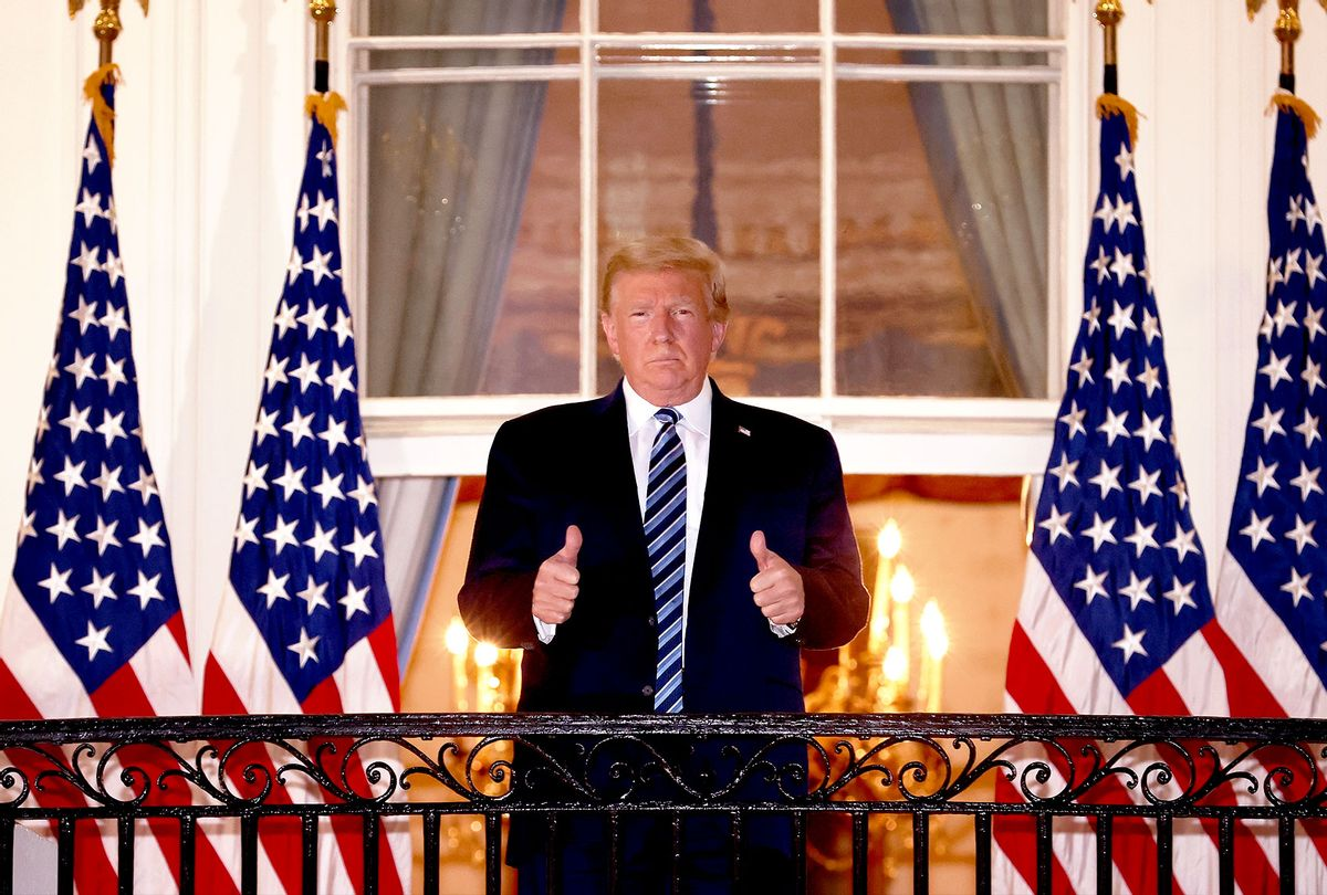 U.S. President Donald Trump gives a thumbs up upon returning to the White House from Walter Reed National Military Medical Center on October 05, 2020 in Washington, DC. Trump spent three days hospitalized for coronavirus. (Win McNamee/Getty Images)