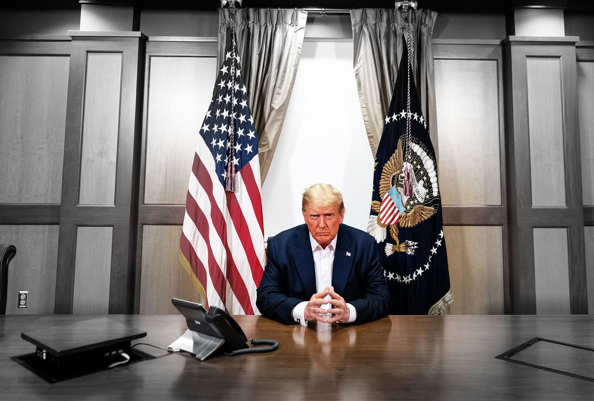 In this handout provided by The White House, President Donald Trump participates in a phone call with Vice President Mike Pence, Secretary of State Mike Pompeo, and Chairman of the Joint Chiefs of Staff Gen. Mark Milley in his conference room at Walter Reed National Military Medical Center on October 4, 2020 in Bethesda, Maryland. (Photo edit by Salon/The White House/Getty Images)