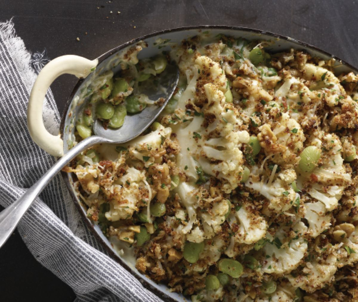 """Cauliflower and Lima Bean Gratin (From """"Easy Beans"""" by Jackie Freeman)"""
