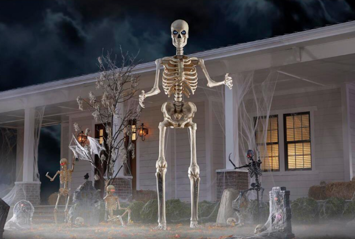 Home Depot's 12-foot giant-sized Sskeleton with LifeEyes (Courtesy of Home Depot)