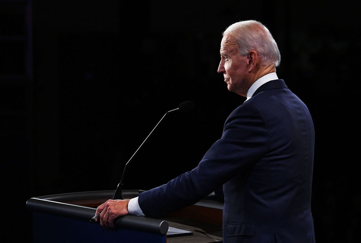 Former Vice President and Democratic presidential nominee Joe Biden participates in the first presidential debate against U.S. President Donald Trump at the Health Education Campus of Case Western Reserve University on September 29, 2020 in Cleveland, Ohio. (Olivier Douliery-Pool/Getty Images)