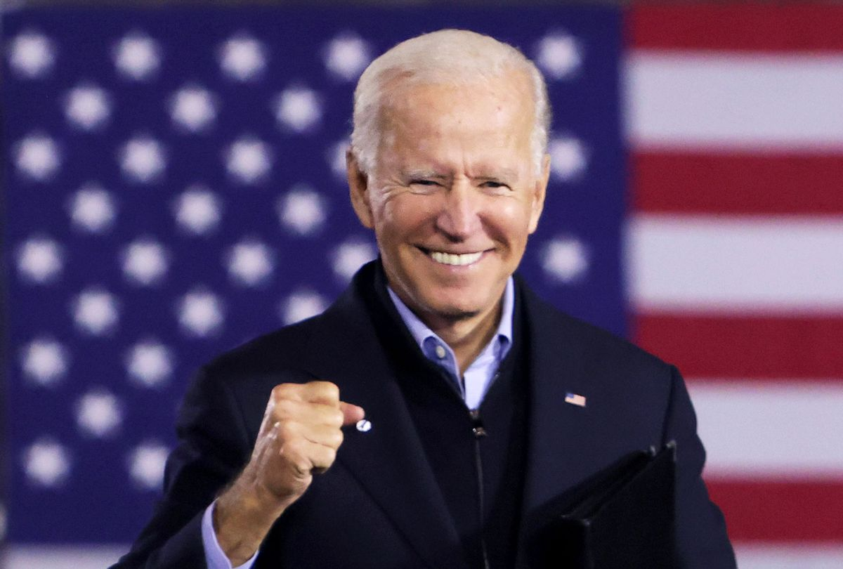 Democratic U.S. presidential nominee Joe Biden gestures during a campaign stop outside Johnstown Train Station September 30, 2020 in Johnstown, Pennsylvania. (Alex Wong/Getty Images)