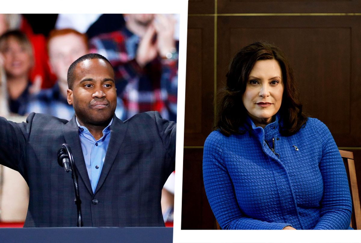 John James and Gretchen Whitmer (Photo illustration by Salon/Getty Images)