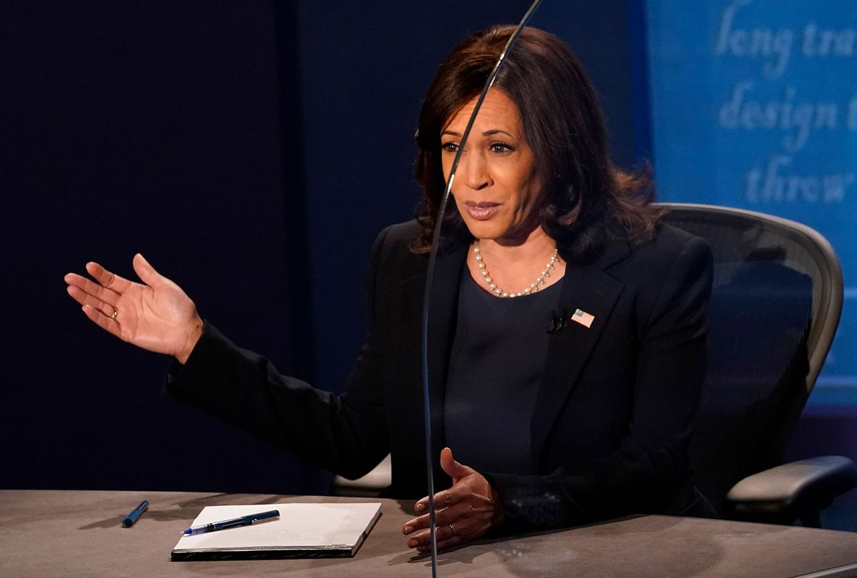 Democratic vice presidential nominee Sen. Kamala Harris (D-CA) debates U.S. Vice President Mike Pence at the University of Utah on October 7, 2020 in Salt Lake City, Utah. This is the only scheduled debate between the two before the general election on November 3. (Morry Gash-Pool/Getty Images)