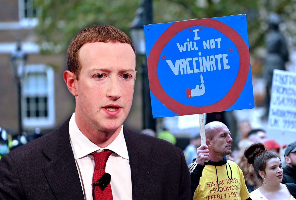 Mark Zuckerberg | Anti-Vax protester (Photo illustration by Salon/Getty Images)