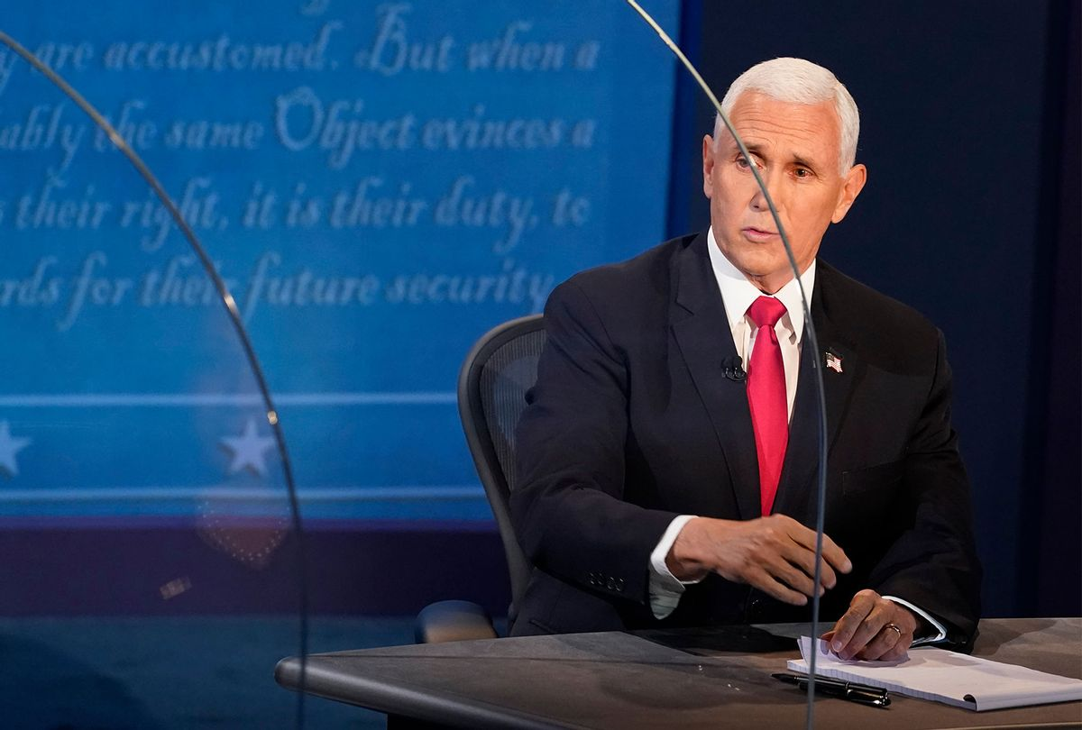 U.S. Vice President Mike Pence debates Democratic vice presidential nominee Sen. Kamala Harris (D-CA) at the University of Utah on October 7, 2020 in Salt Lake City, Utah. This is the only scheduled debate between the two before the general election on November 3. (Morry Gash-Pool/Getty Images)