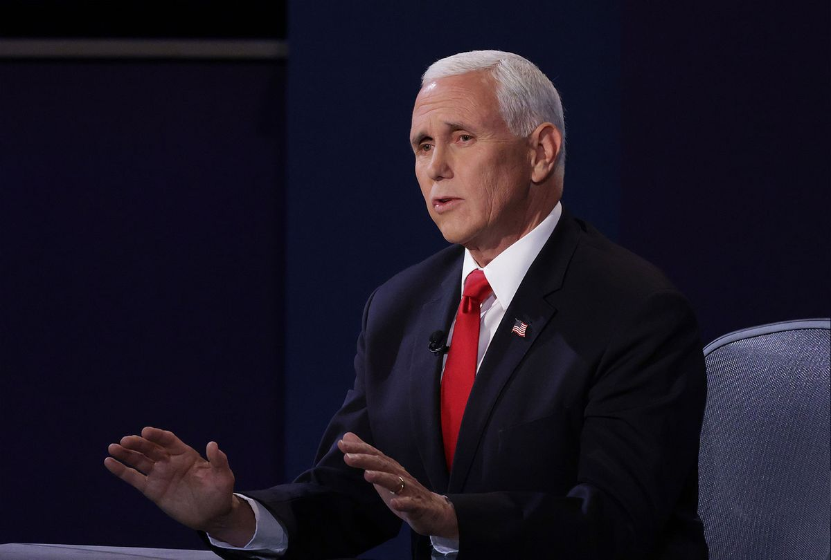 U.S. Vice President Mike Pence participates in the vice presidential debate against Democratic vice presidential nominee Sen. Kamala Harris (D-CA) at the University of Utah on October 7, 2020 in Salt Lake City, Utah. The vice presidential candidates only meet once to debate before the general election on November 3. (Alex Wong/Getty Images)