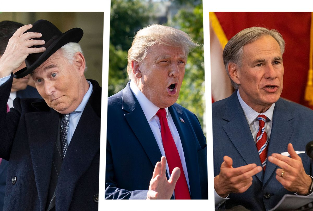 Roger Stone, Donald Trump and Greg Abbott (Photo illustration by Salon/Getty Images)