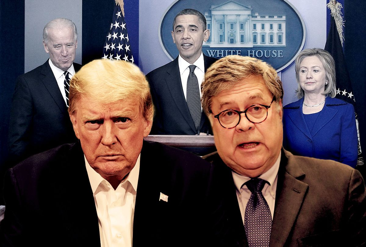Donald Trump and Bill Barr, with Joe Biden, Barack Obama and Hilary Clinton in the background (Photo illustration by Salon/Getty Images)