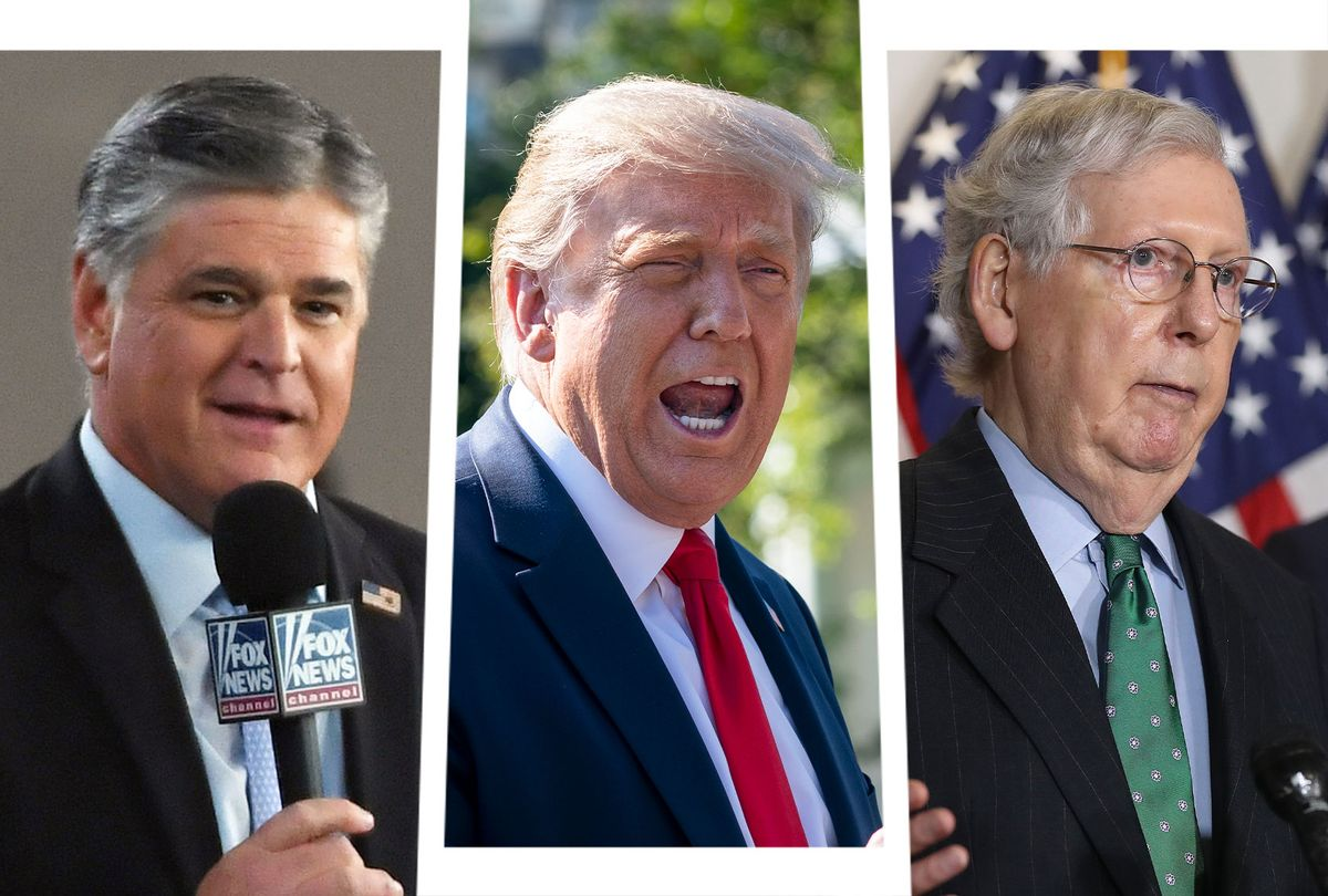 Sean Hannity, Donald Trump and Mitch McConnell (Photo illustration by Salon/Getty Images)
