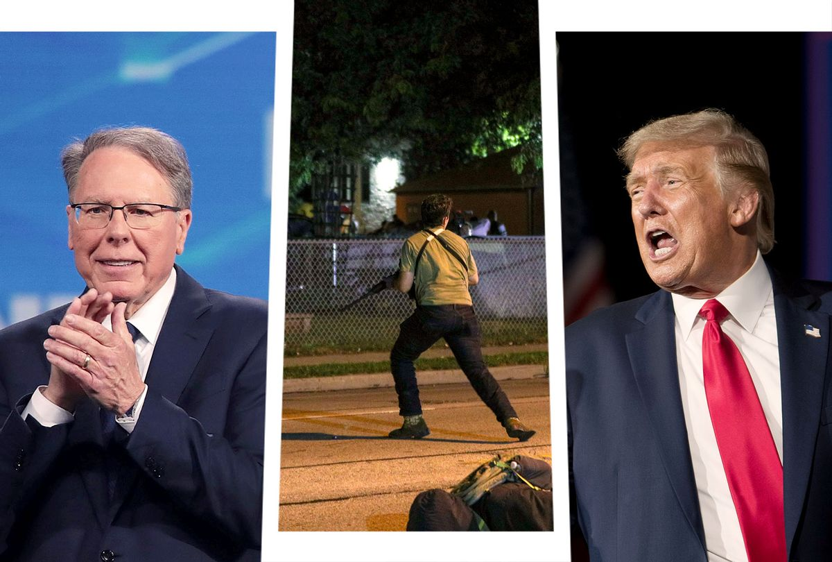 Wayne LaPierre, Kyle Rittenhouse and Donald Trump (Photo illustration by Salon/Getty Images)