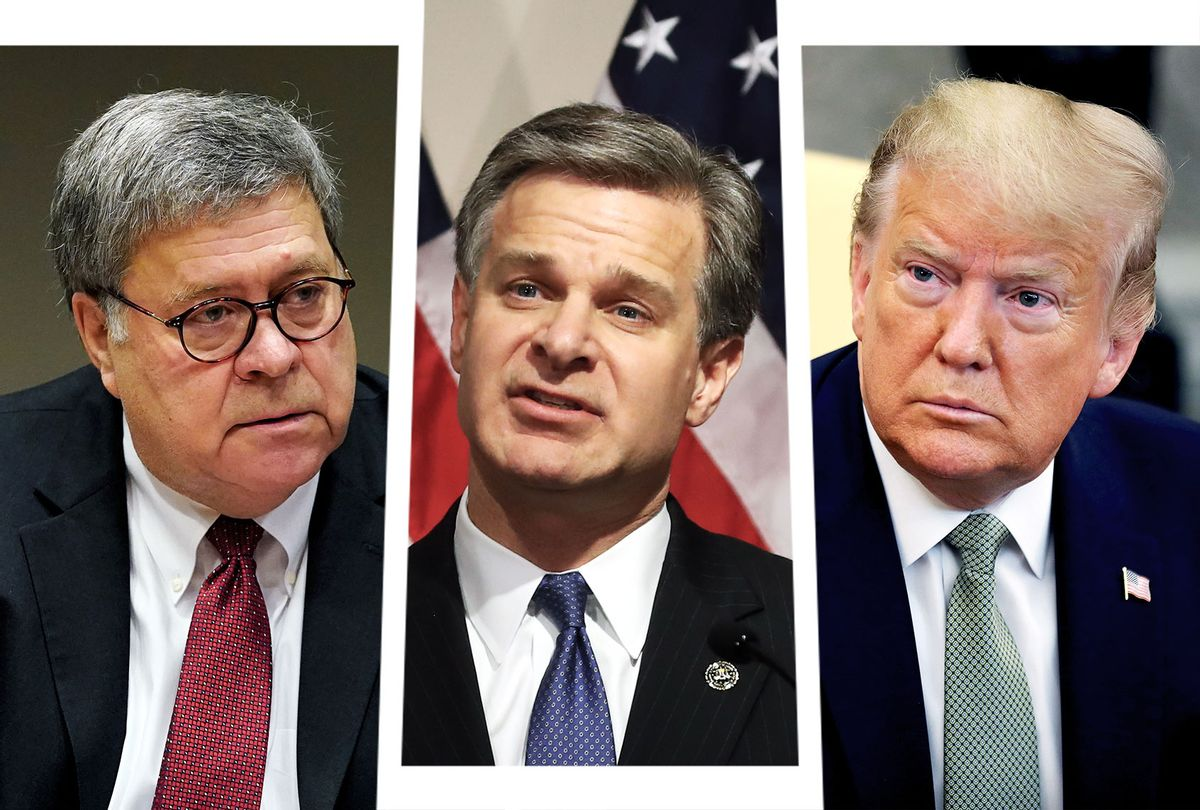 Bill Barr, Christopher Wray and Donald Trump (Photo illustration by Salon/Getty Images)