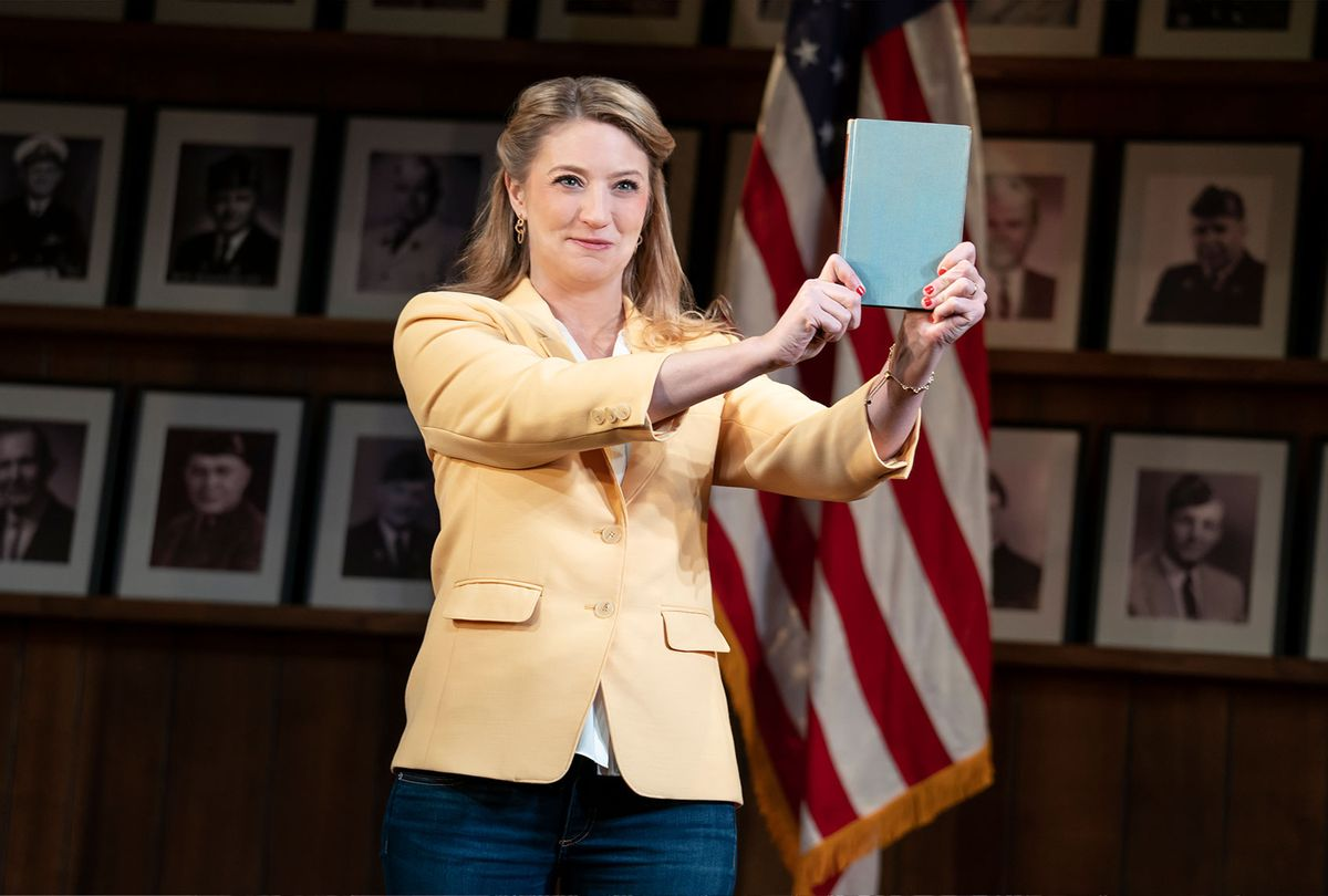 """Heidi Schreck in a scene from """"What the Constitution Means to Me.""""  (Joan Marcus/Amazon Studios)"""