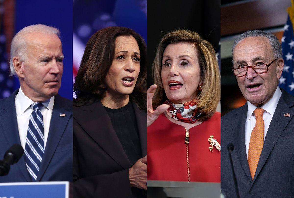 Joe Biden, Kamala Harris, Nancy Pelosi and Chuck Schumer (Photo illustration by Salon/Getty Images)