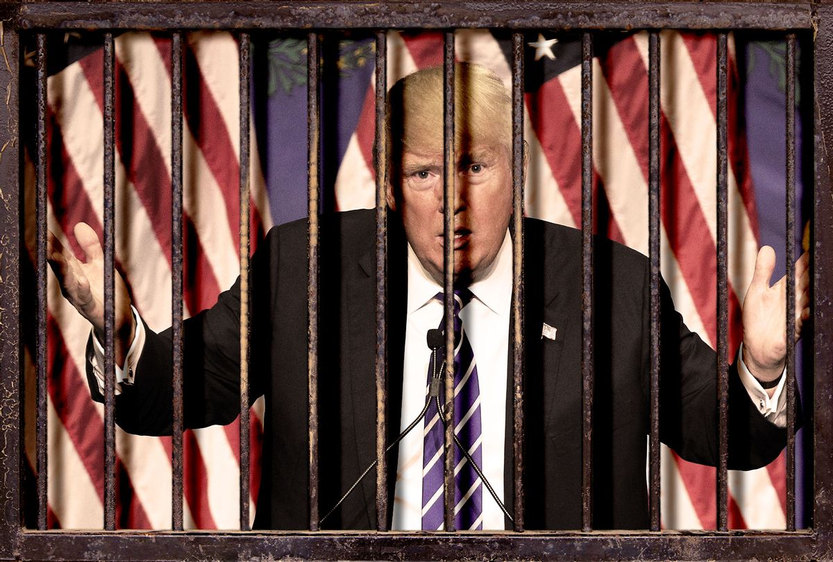 Donald Trump behind bars (Photo illustration by Salon/Getty Images)
