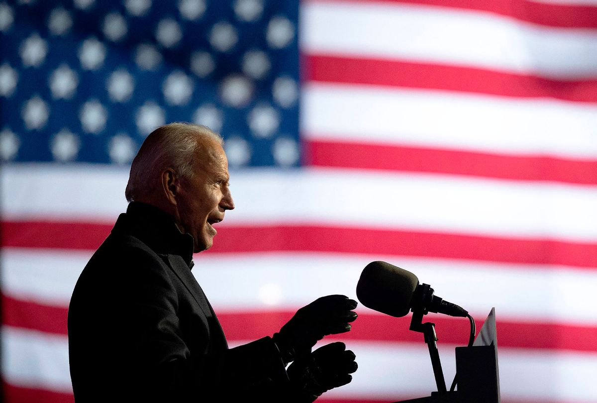 Democratic Presidential candidate and former US Vice President Joe Biden speaks during a Drive-In Rally at Heinz Field in Pittsburgh, Pennsylvania, on November 2, 2020. (JIM WATSON/AFP via Getty Images)
