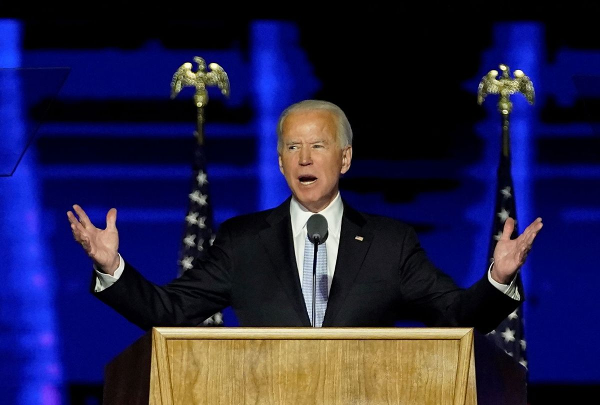 President-elect Joe Biden addresses the nation from the Chase Center November 07, 2020 in Wilmington, Delaware. After four days of counting the high volume of mail-in ballots in key battleground states due to the coronavirus pandemic, the race was called for Biden after a contentious election battle against incumbent Republican President Donald Trump. (Andrew Harnik-Pool/Getty Images)