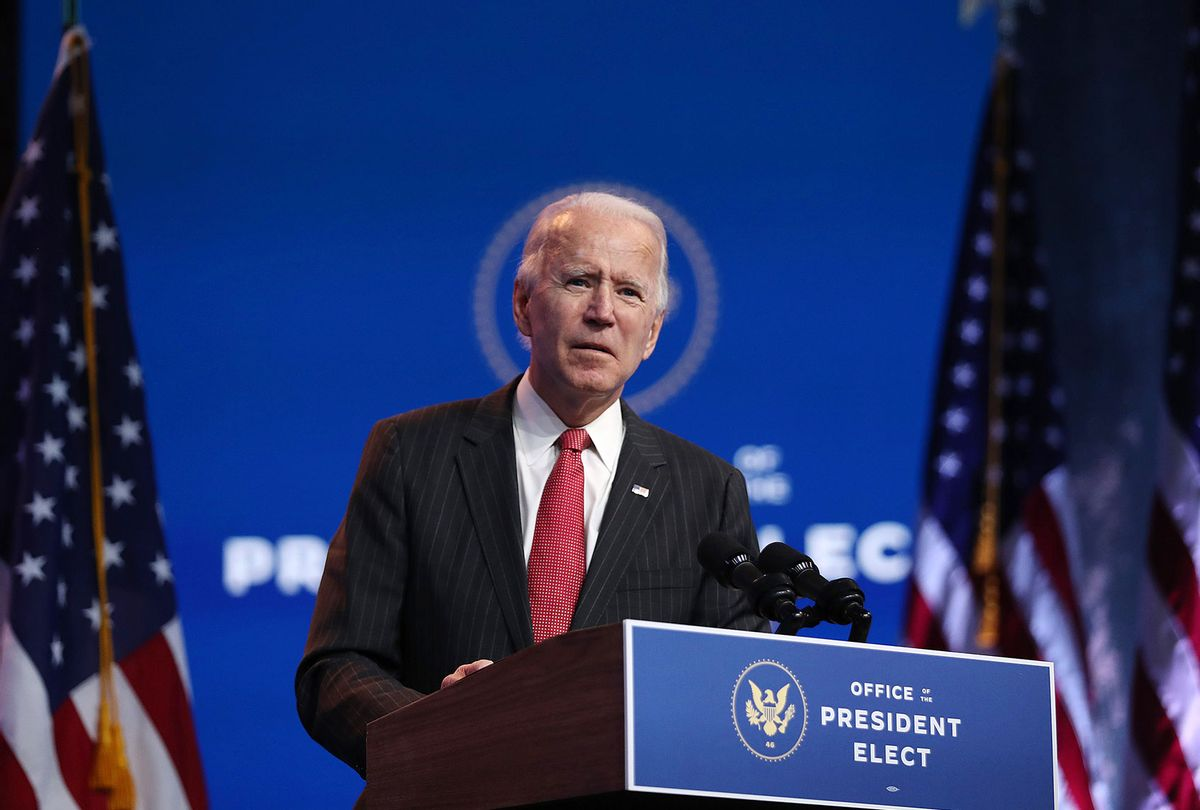 U.S. President-elect Joe Biden speaks as he addresses the media after a virtual meeting with the National Governors Association's executive committee at the Queen Theater on November 19, 2020 in Wilmington, Delaware. Mr. Biden and his advisors continue the process of transitioning to the White House. (Joe Raedle/Getty Images)