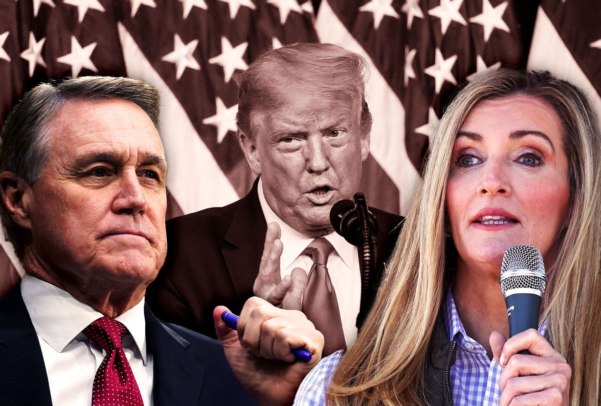 Kelly Loeffler, David Perdue and Donald Trump (Photo illustration by Salon/Getty Images)