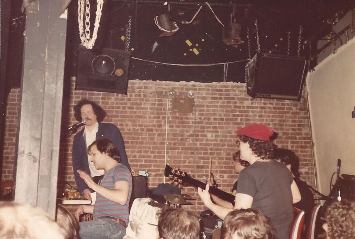 Lucian Truscott playing with The Fugs at the Mudd Club in 1982 (Photo provided by Lucian Truscott, taken by then girlfirend)