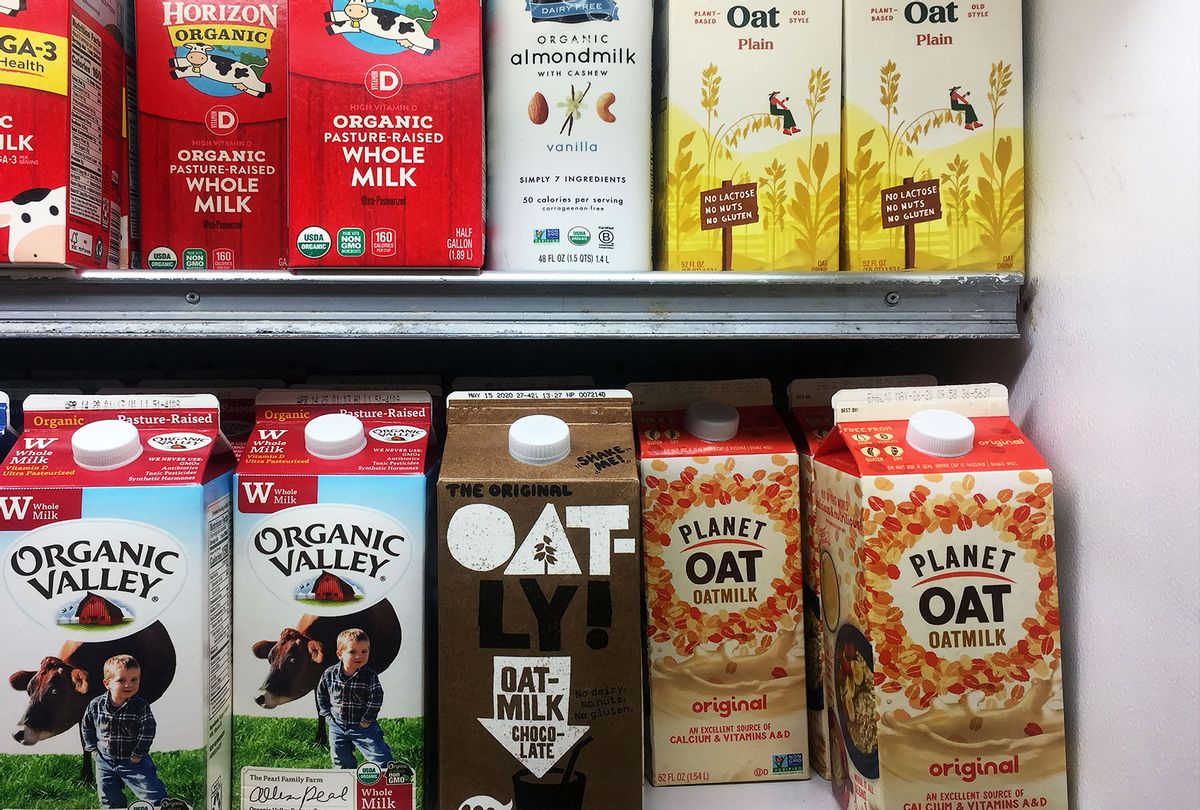 Oat milk cartons are seen on display in a grocery store in Manhattan, New York on March 10, 2020. - Almond, soy, coconut, nonfat or whole? American stores offer a dizzying array of milk but a new option is experiencing unprecedented growth and fast becoming a vegan favorite: oat milk. (THOMAS URBAIN/AFP via Getty Images)
