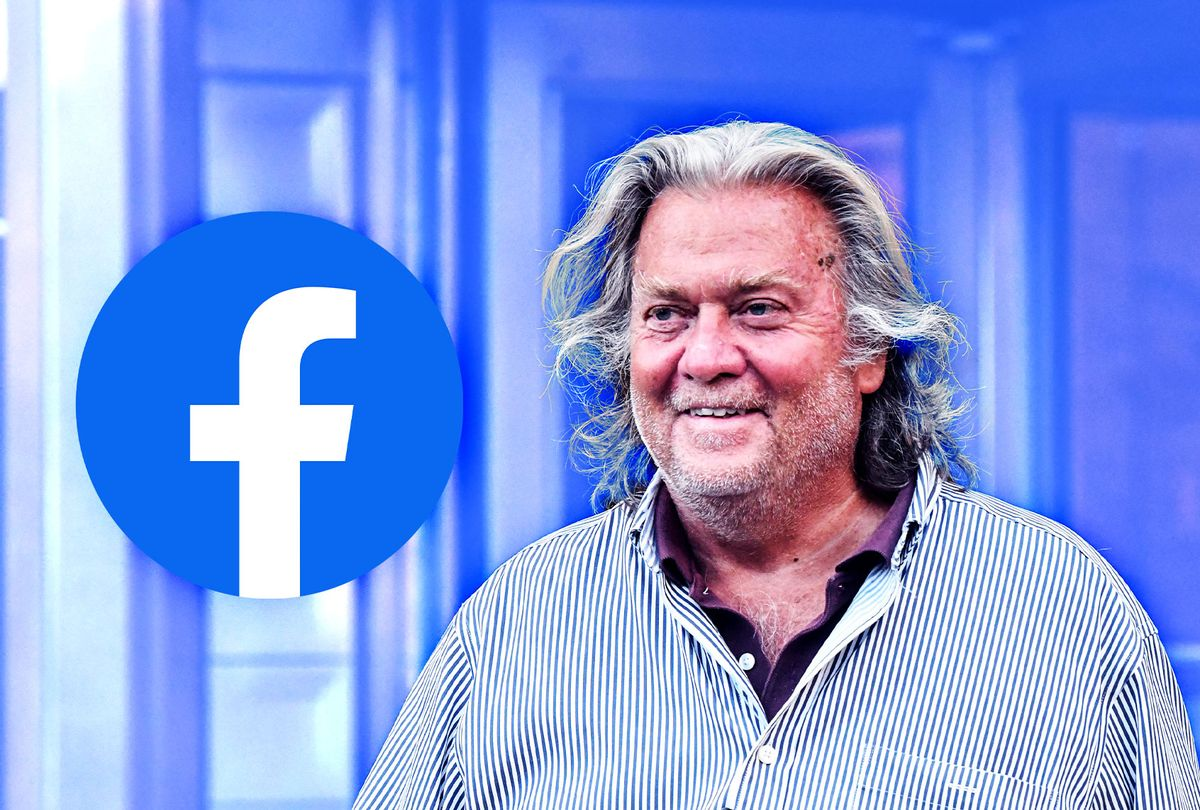 Former White House Chief Strategist Steve Bannon | Facebook logo (Photo illustration by Salon/Getty Images/Facebook)