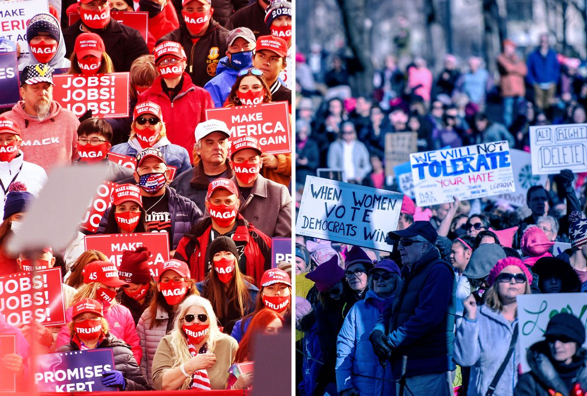 Trump Rally | Womens' March (Photo illustration by Salon/Getty Images)