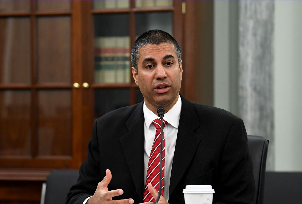 Ajit Pai, Chairman, Federal Communications Commission testifies during an oversight hearing to examine the Federal Communications Commission on June 24, 2020in Washington,DC. (JONATHAN NEWTON/POOL/AFP via Getty Images)