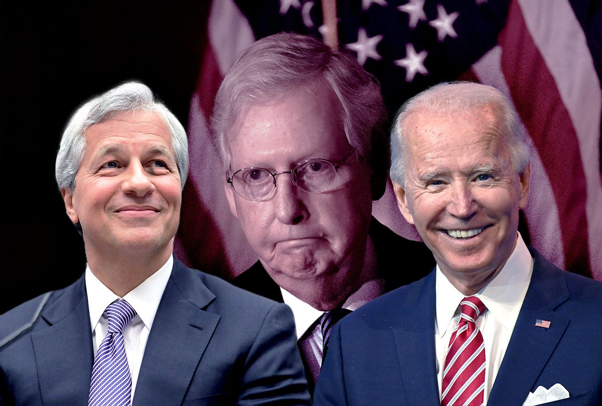 Jamie Dimon, Joe Biden and Mitch McConnell (Photo illustration by Salon/Getty Images)