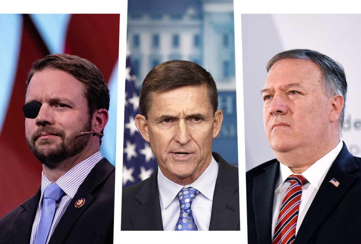 Dan Crenshaw, Michael Flynn and Mike Pompeo (Photo illustration by Salon/Getty Images)