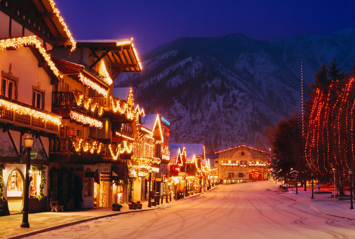 USA, Washington, Leavenworth In Winter, Street Scene With Holiday Lights, Evening. (Getty Images)