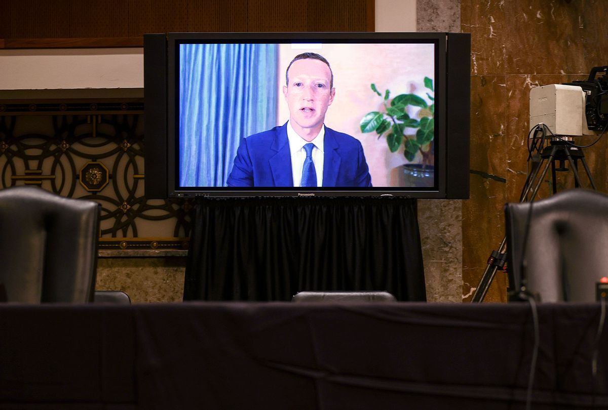 Facebook CEO Mark Zuckerberg testifies remotely during a Senate Judiciary Committee hearing (Hannah McKay-Pool/Getty Images)