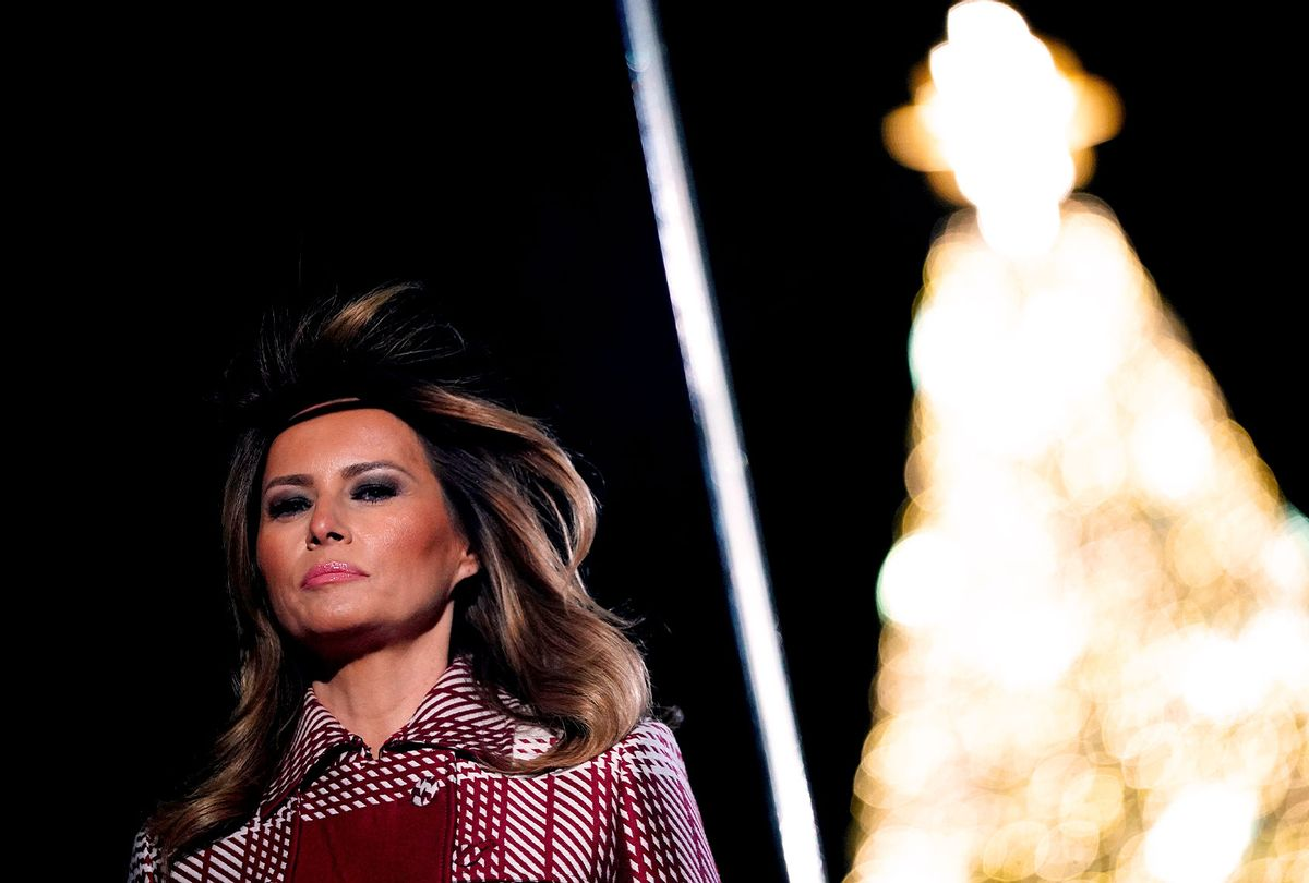 First Lady Melania Trump takes part in the annual lighting of the National Christmas tree on The Ellipse in Washington, DC on December 5, 2019. (MANDEL NGAN/AFP via Getty Images)