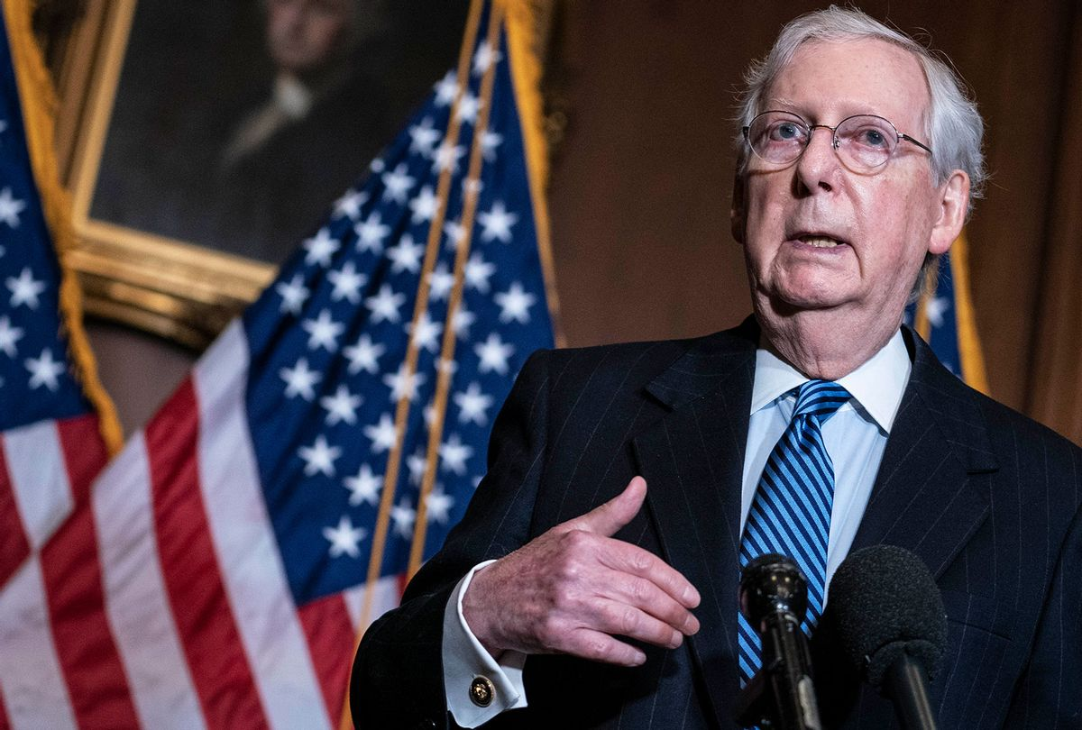 Republican Senate Majority Leader Mitch McConnell (R-KY) speaks to the media after the Republican's weekly senate luncheon in the US Capitol on December 8, 2020 in Washington, DC. McConnell spoke on the ongoing Coronavirus relief package legislation. (Kevin Dietsch-Pool/Getty Images)
