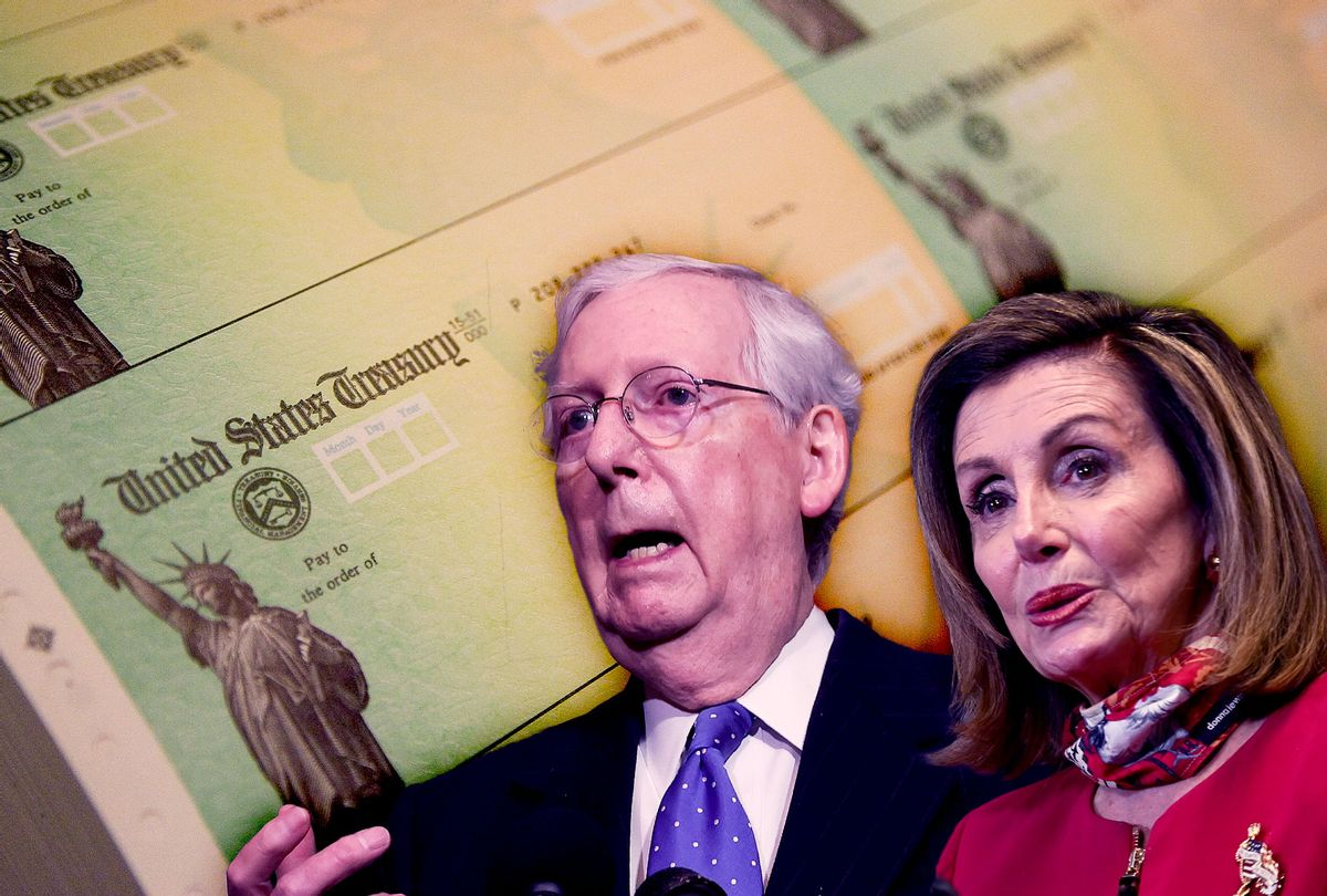 Mitch McConnell and Nancy Pelosi | Stimulus Checks (Photo illustration by Salon/Getty Images)