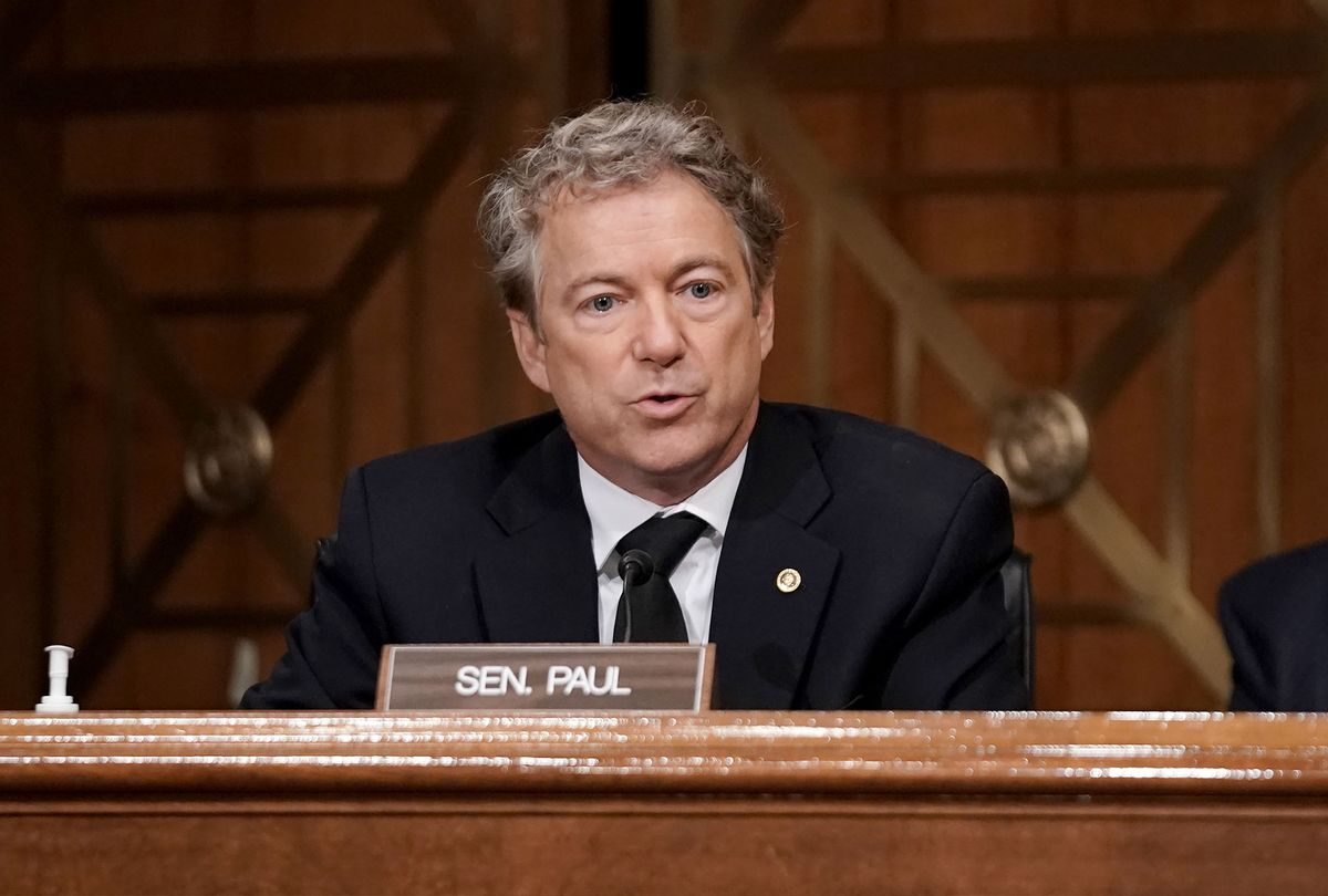Sen. Rand Paul (R-KY) asks questions during a Senate Homeland Security and Governmental Affairs Committee hearing to discuss election security and the 2020 election process on December 16, 2020 in Washington, DC. (Greg Nash-Pool/Getty Images)